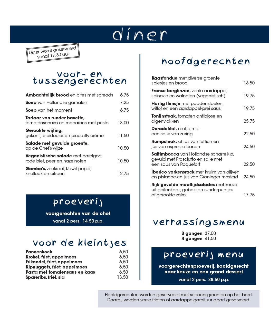 Diner - Menukaart de Paalkoepel