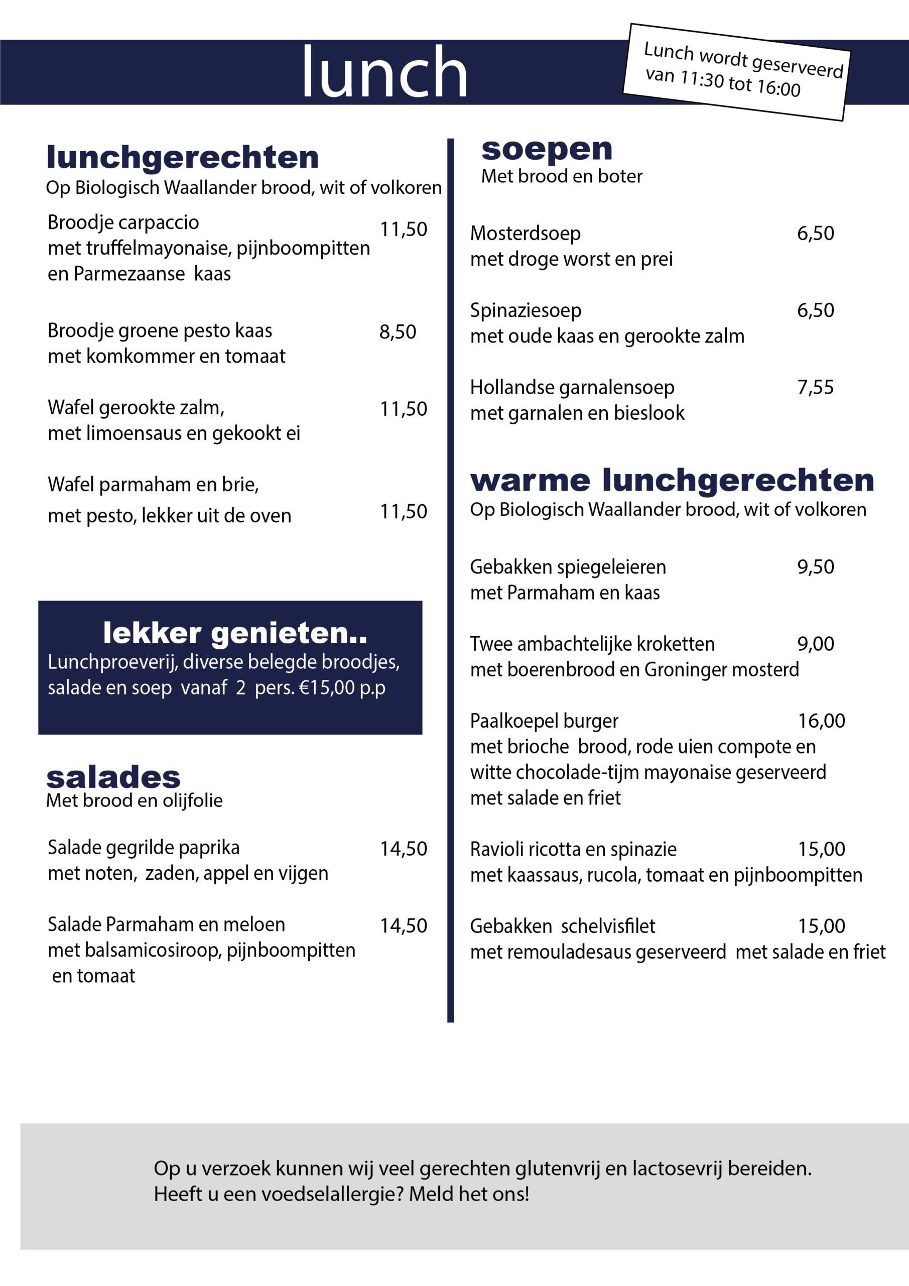 lunch menukaart