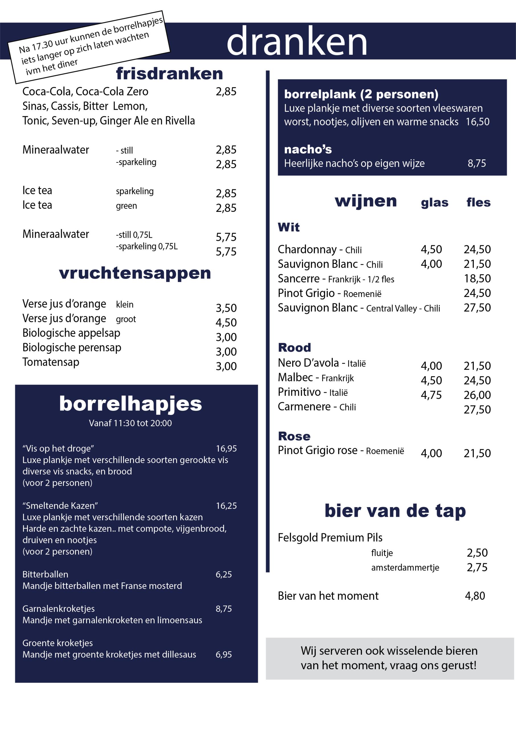 Borrel en dranken menukaart