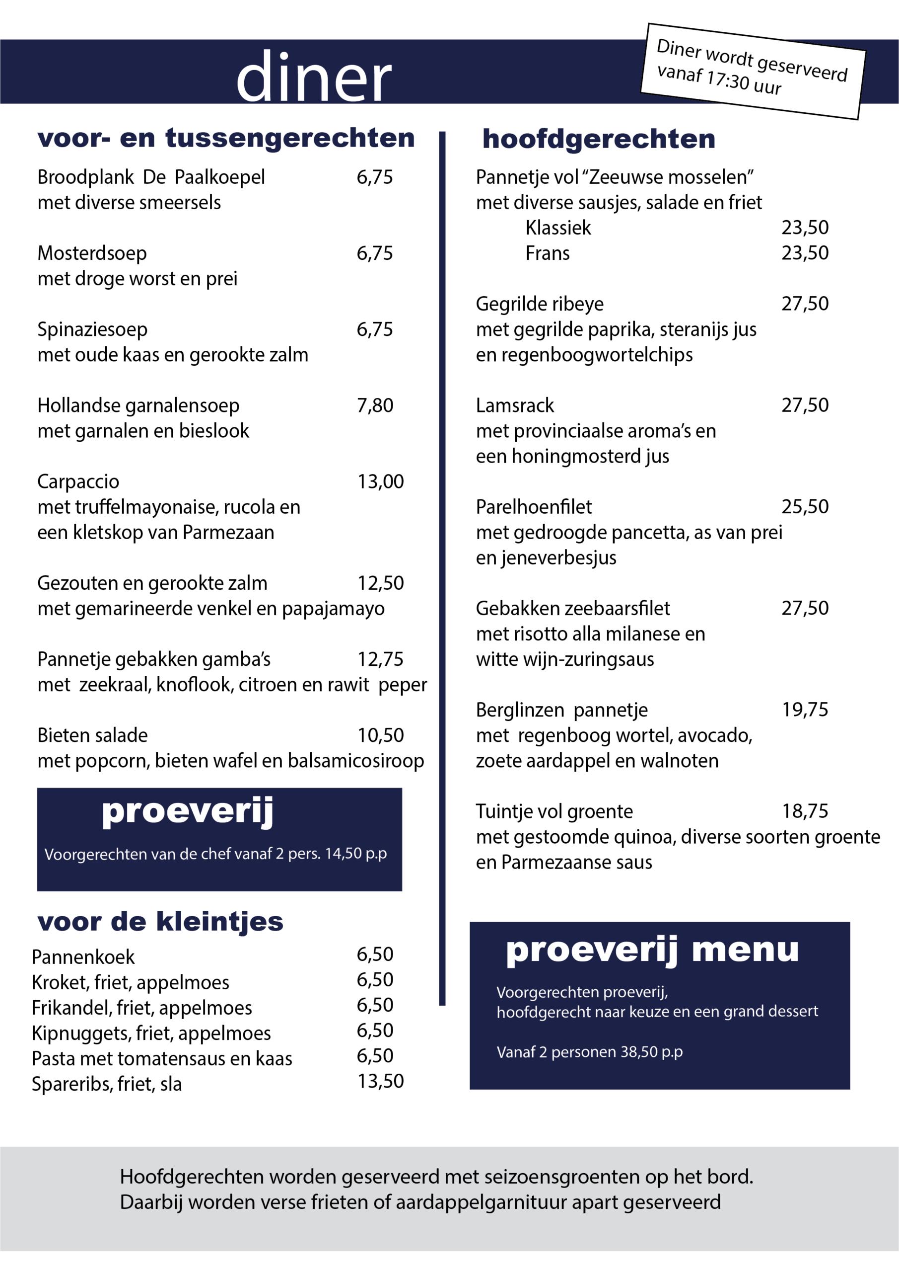 diner menukaart